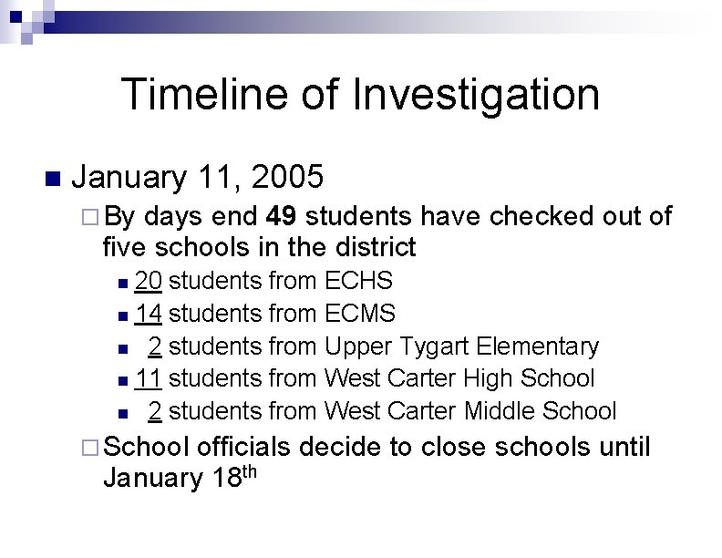 Timeline of Investigation n January 11, 2005 ¨ By days end 49 students have