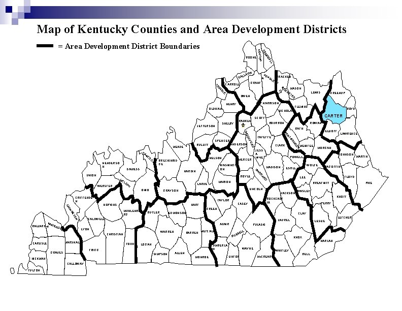 Map of Kentucky Counties and Area Development Districts BOONE LL BE MP CA N