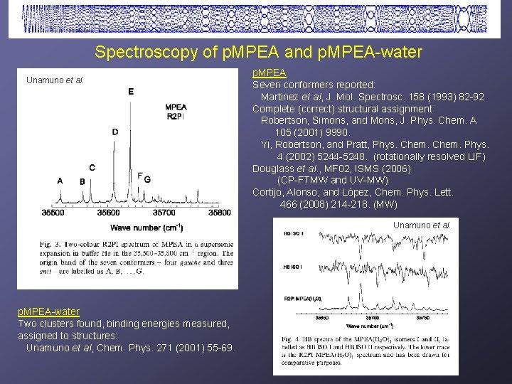 Spectroscopy of p. MPEA and p. MPEA-water Unamuno et al. p. MPEA Seven conformers