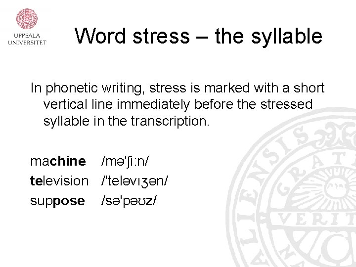 Word stress – the syllable In phonetic writing, stress is marked with a short