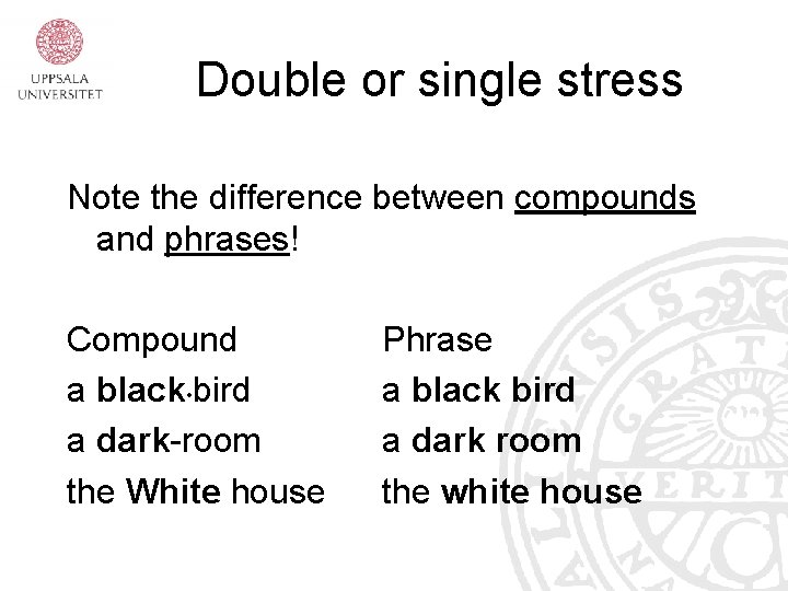 Double or single stress Note the difference between compounds and phrases! Compound a black