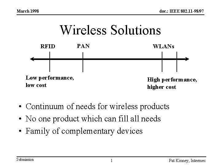 March 1998 doc. : IEEE 802. 11 -98/97 Wireless Solutions RFID PAN WLANs Low