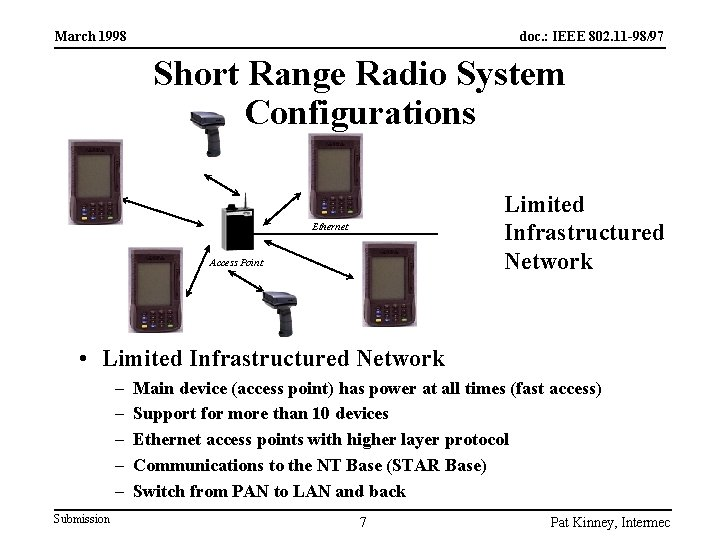 March 1998 doc. : IEEE 802. 11 -98/97 Short Range Radio System Configurations Limited