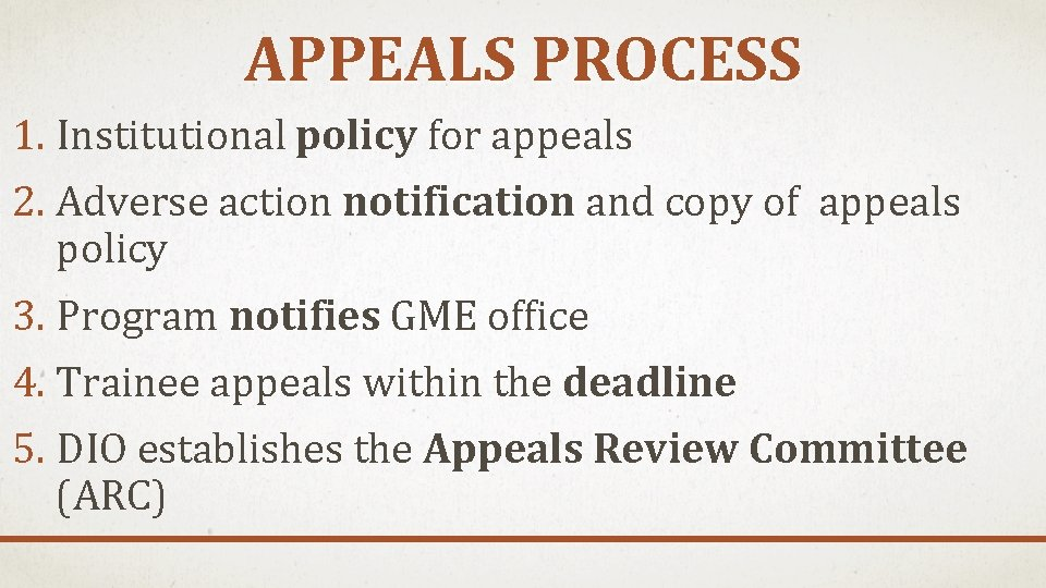 APPEALS PROCESS 1. Institutional policy for appeals 2. Adverse action notification and copy of