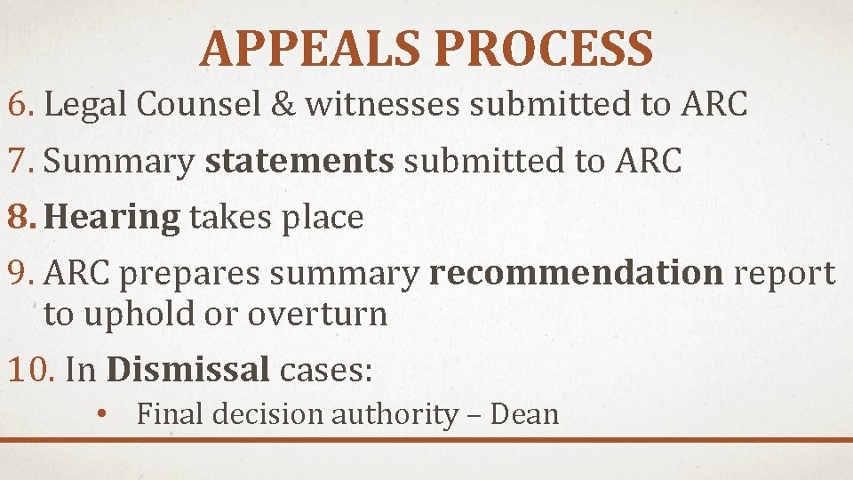 APPEALS PROCESS 6. Legal Counsel & witnesses submitted to ARC 7. Summary statements submitted