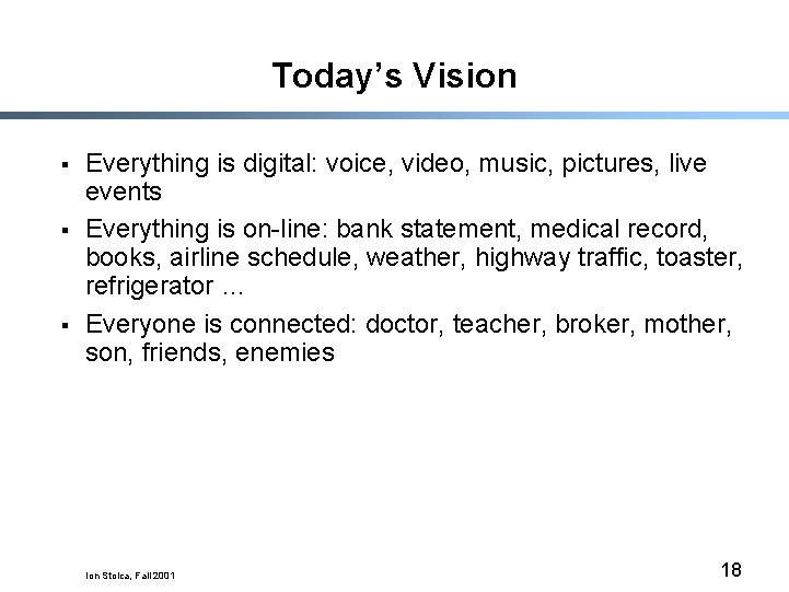 Today's Vision § § § Everything is digital: voice, video, music, pictures, live events