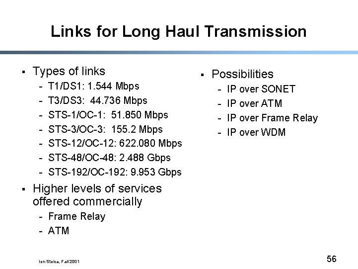 Links for Long Haul Transmission § Types of links - § T 1/DS 1: