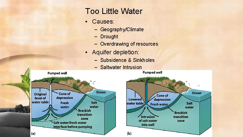 Too Little Water • Causes: – Geography/Climate – Drought – Overdrawing of resources •