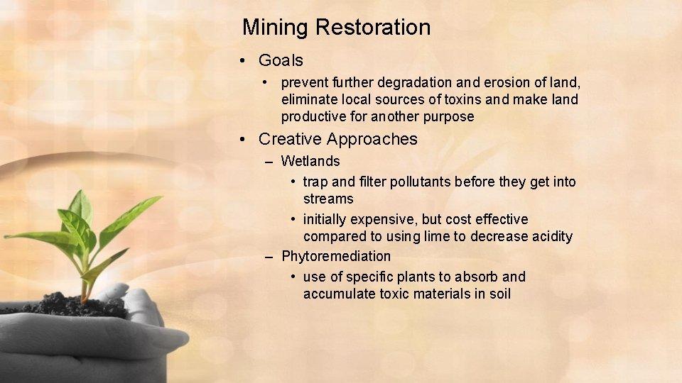 Mining Restoration • Goals • prevent further degradation and erosion of land, eliminate local