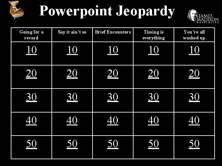 Powerpoint Jeopardy Going for a record Say it ain't so Brief Encounters Timing is