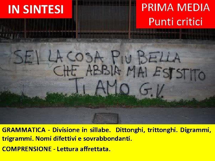 IN SINTESI PRIMA MEDIA Punti critici GRAMMATICA - Divisione in sillabe. Dittonghi, trittonghi. Digrammi,