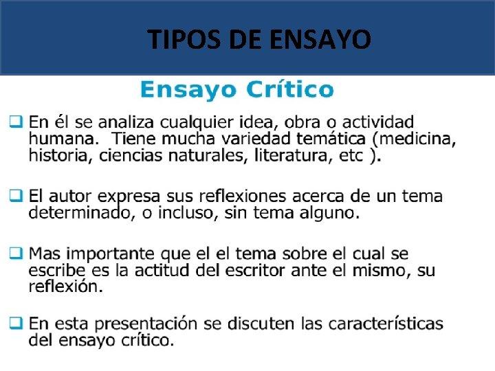 TIPOS DE ENSAYO ´