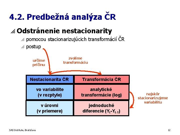 4. 2. Predbežná analýza ČR p Odstránenie nestacionarity o o pomocou stacionarizujúcich transformácií ČR