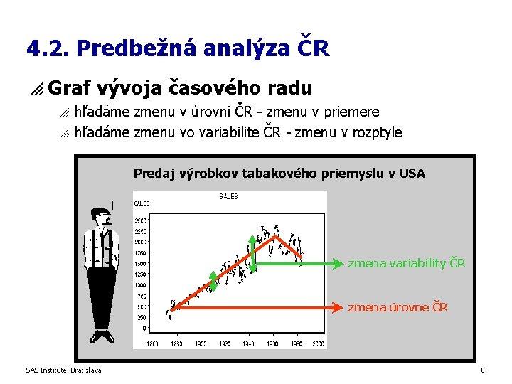 4. 2. Predbežná analýza ČR p Graf vývoja časového radu o o hľadáme zmenu