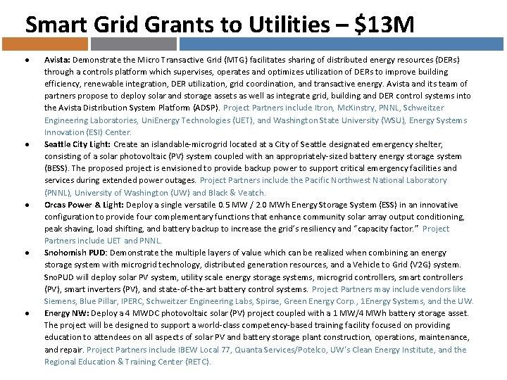 Smart Grid Grants to Utilities – $13 M Avista: Demonstrate the Micro Transactive Grid