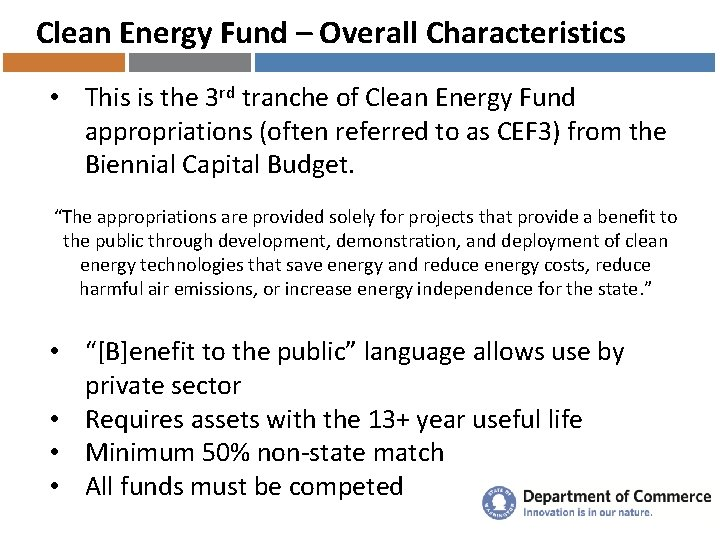 Clean Energy Fund – Overall Characteristics • This is the 3 rd tranche of