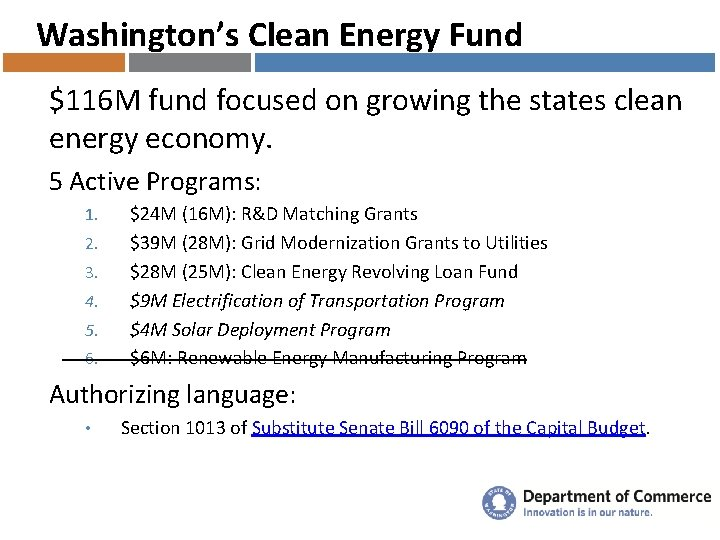 Washington's Clean Energy Fund $116 M fund focused on growing the states clean energy
