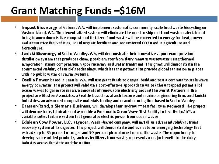 Grant Matching Funds –$16 M • • • Impact Bioenergy of Auburn, WA, will