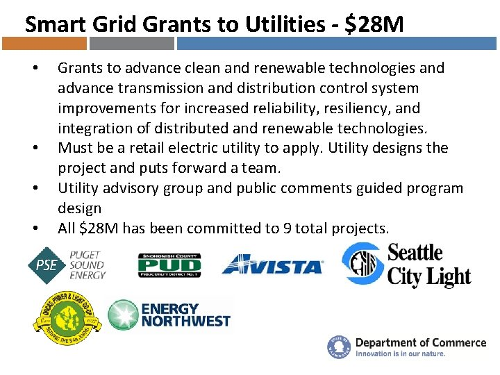 Smart Grid Grants to Utilities - $28 M • • Grants to advance clean