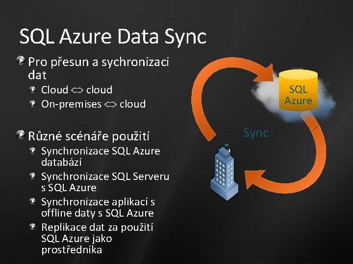SQL Azure Data Sync Pro přesun a sychronizaci dat SQL Azure Cloud cloud On-premises