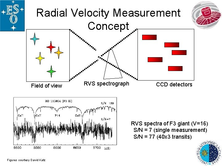 Radial Velocity Measurement Concept Field of view RVS spectrograph CCD detectors RVS spectra of