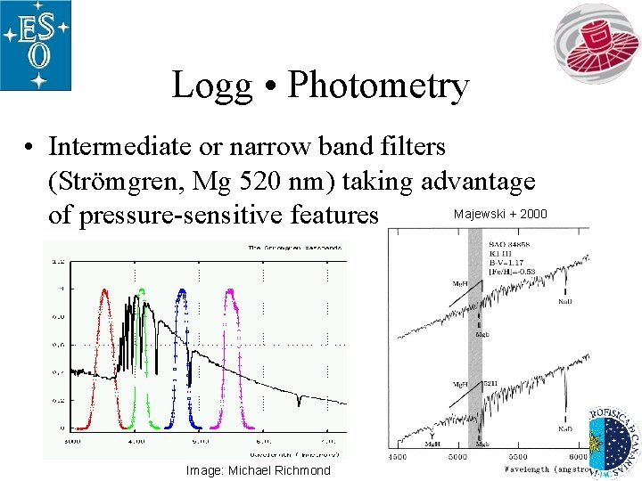 Logg • Photometry • Intermediate or narrow band filters (Strömgren, Mg 520 nm) taking