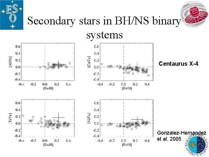 Secondary stars in BH/NS binary systems Centaurus X-4 Gonzalez-Hernandez et al. 2005