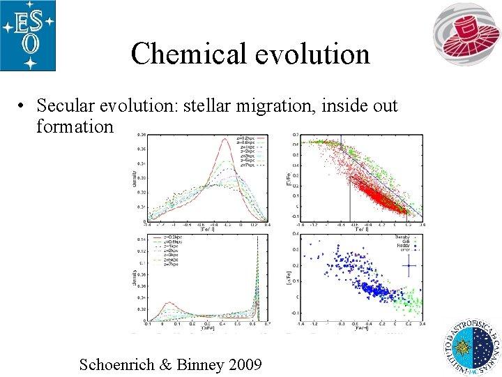 Chemical evolution • Secular evolution: stellar migration, inside out formation Schoenrich & Binney 2009