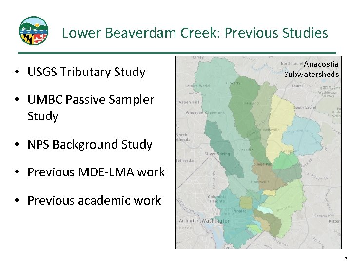 Lower Beaverdam Creek: Previous Studies • USGS Tributary Study Anacostia Subwatersheds • UMBC Passive