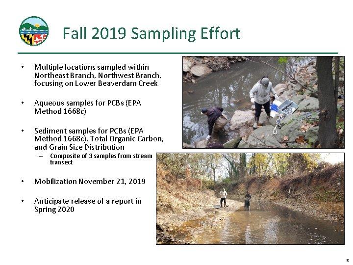 Fall 2019 Sampling Effort • Multiple locations sampled within Northeast Branch, Northwest Branch, focusing