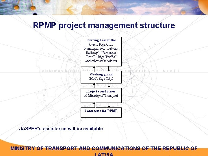 """RPMP project management structure Steering Committee (Mo. T, Riga City, Municipalities, """"Latvian Railway"""", """"Passenger"""