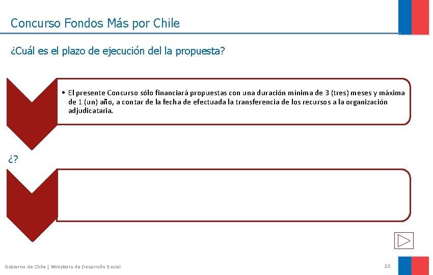 Concurso Fondos Más por Chile ¿Cuál es el plazo de ejecución del la propuesta?