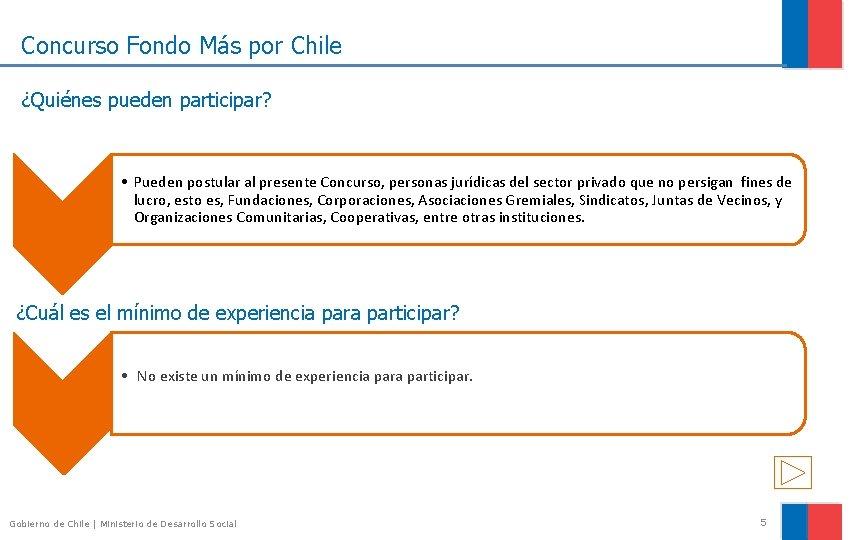 Concurso Fondo Más por Chile ¿Quiénes pueden participar? • Pueden postular al presente Concurso,