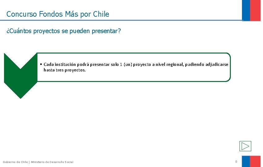 Concurso Fondos Más por Chile ¿Cuántos proyectos se pueden presentar? • Cada institución podrá