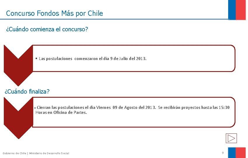 Concurso Fondos Más por Chile ¿Cuándo comienza el concurso? • Las postulaciones comenzaron el