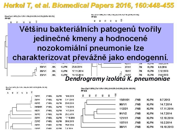 Herkel T, et al. Biomedical Papers 2016, 160: 448 -455 Většinu bakteriálních patogenů tvořily