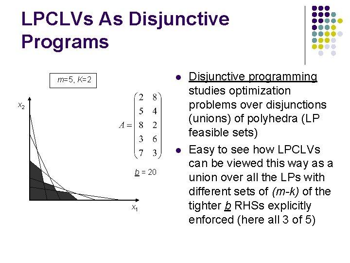 LPCLVs As Disjunctive Programs l m=5, K=2 x 2 l b = 20 x