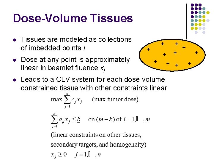 Dose-Volume Tissues l Tissues are modeled as collections of imbedded points i + +