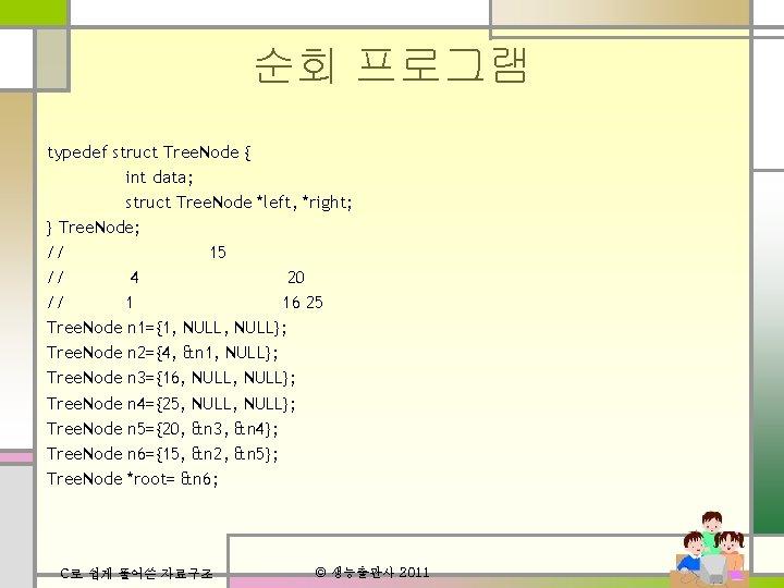 순회 프로그램 typedef struct Tree. Node { int data; struct Tree. Node *left, *right;