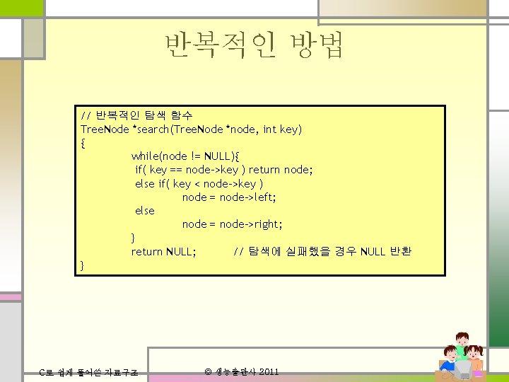 반복적인 방법 // 반복적인 탐색 함수 Tree. Node *search(Tree. Node *node, int key) {
