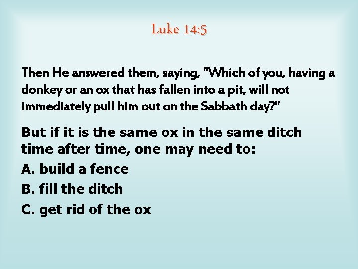 """Luke 14: 5 Then He answered them, saying, """"Which of you, having a donkey"""