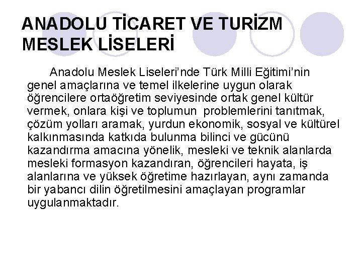 ANADOLU TİCARET VE TURİZM MESLEK LİSELERİ Anadolu Meslek Liseleri'nde Türk Milli Eğitimi'nin genel amaçlarına