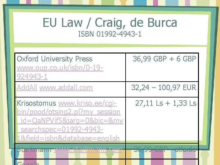EU Law / Craig, de Burca ISBN 01992 -4943 -1 Oxford University Press www.