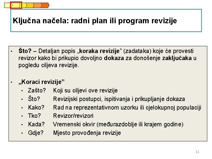 """Ključna načela: radni plan ili program revizije • Što? – Detaljan popis """"koraka revizije"""""""