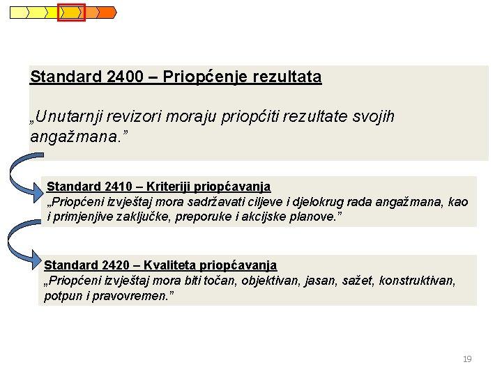"""Standard 2400 – Priopćenje rezultata """"Unutarnji revizori moraju priopćiti rezultate svojih angažmana. """" Standard"""