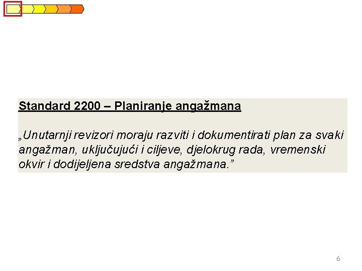 """Standard 2200 – Planiranje angažmana """"Unutarnji revizori moraju razviti i dokumentirati plan za svaki"""