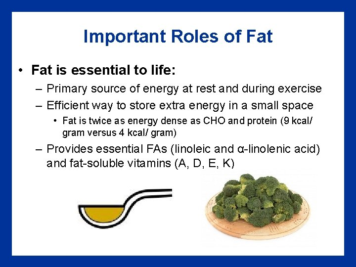 Important Roles of Fat • Fat is essential to life: – Primary source of