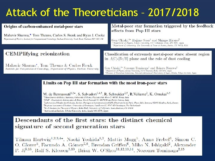 Attack of the Theoreticians – 2017/2018