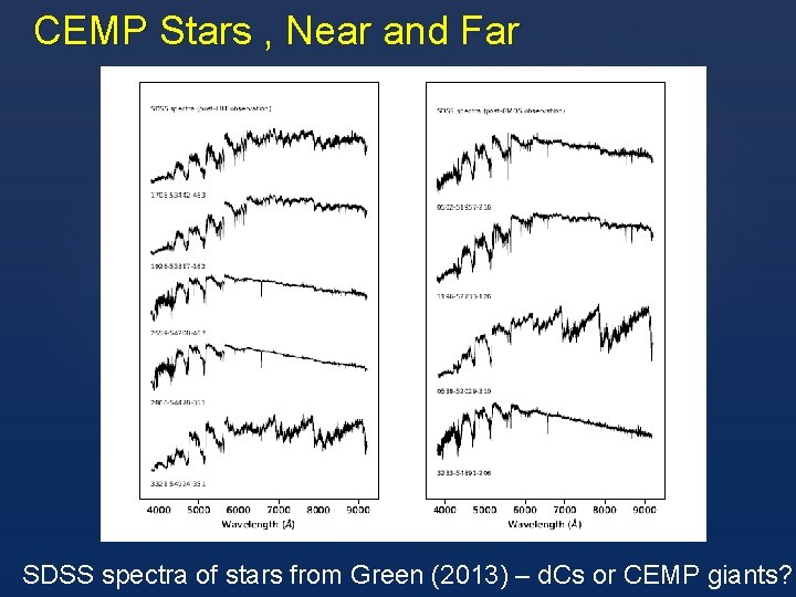 CEMP Stars , Near and Far SDSS spectra of stars from Green (2013) –