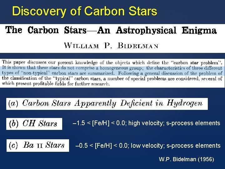 Discovery of Carbon Stars – 1. 5 < [Fe/H] < 0. 0; high velocity;